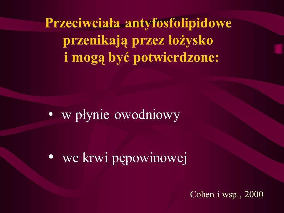 Przeciwciała antyfosfolipidowe przenikają przez łożysko i mogą być potwierdzone: w płynie owodniowy we krwi pępowinowej Cohen i wsp., 2000