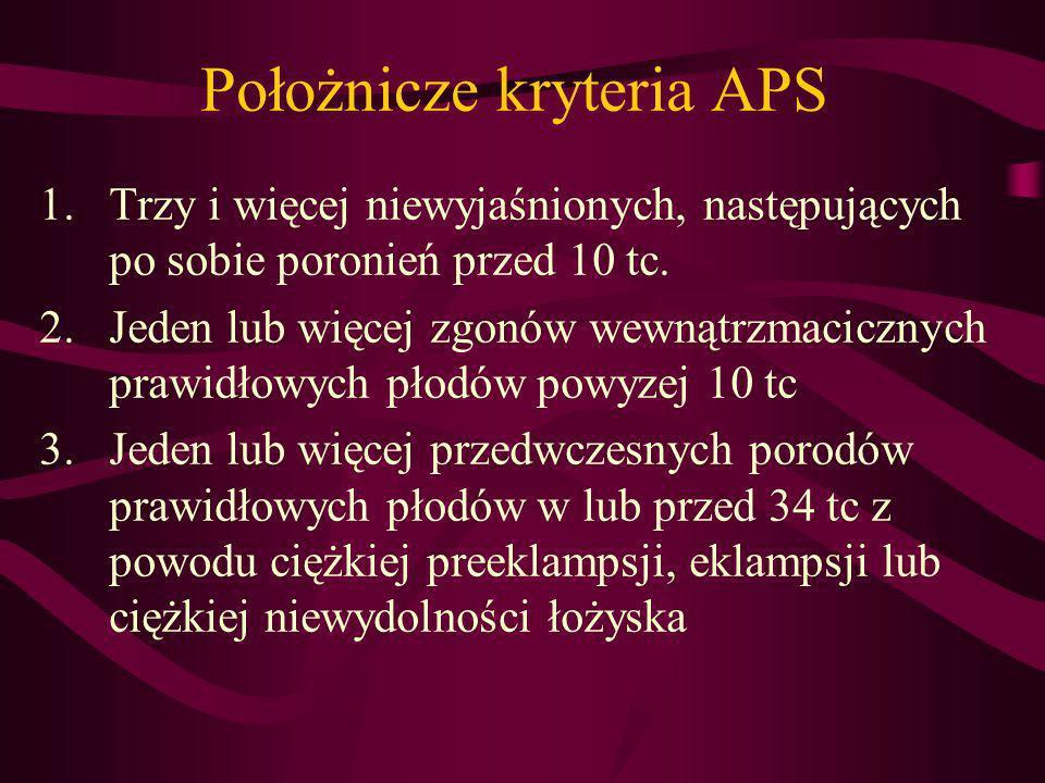 Kryteria laboratoryjne 1.Przeciwciała przeciwkardiolipinowe IgG i/albo IgM w surowicy w średnim lub wysokim mianie >40 GPL/MPL lub >99 percentyla, wykryte przynajmniej 2-krotnie w odstępie przynajmniej 12 tygodni 2.Przeciwciała przeciwko B-2 glikoproteinie I wykryte zgodnie z zasadami jak w p.1, przy wartościach >99 percentyla (>20 RU/ml) 3.