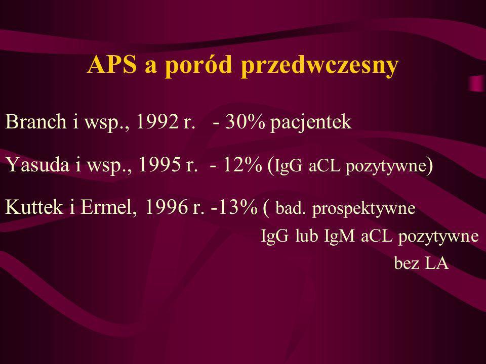 APS a poród przedwczesny Branch i wsp., 1992 r. - 30% pacjentek Yasuda i wsp., 1995 r. - 12% ( IgG aCL pozytywne ) Kuttek i Ermel, 1996 r. -13% ( bad.