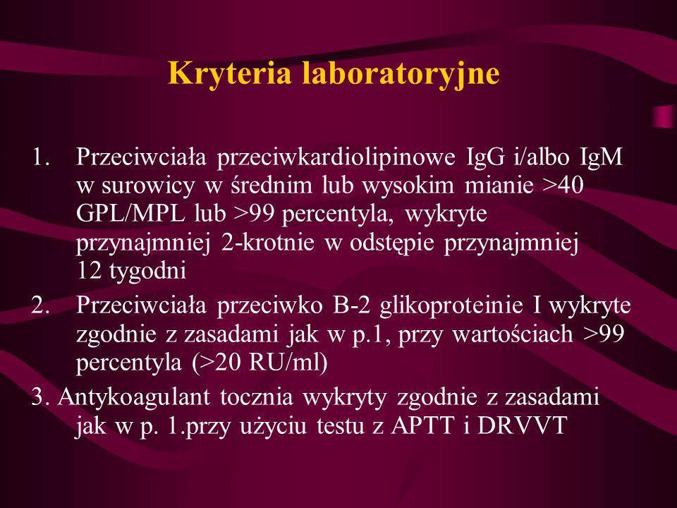 Kryteria laboratoryjne 1.Przeciwciała przeciwkardiolipinowe IgG i/albo IgM w surowicy w średnim lub wysokim mianie >40 GPL/MPL lub >99 percentyla, wyk
