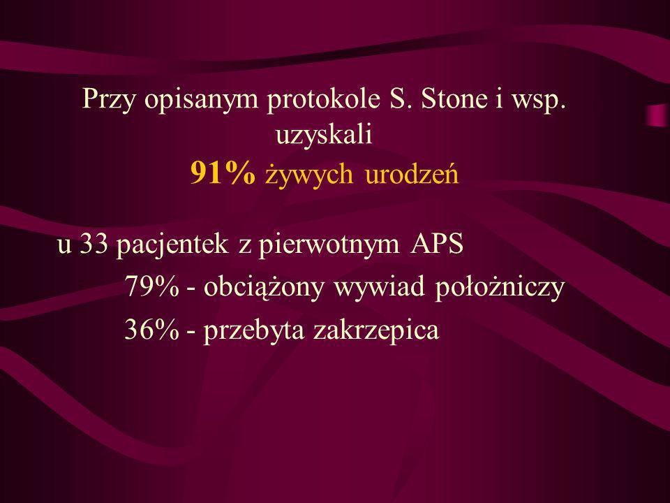 Przy opisanym protokole S. Stone i wsp. uzyskali 91% żywych urodzeń u 33 pacjentek z pierwotnym APS 79% - obciążony wywiad położniczy 36% - przebyta z