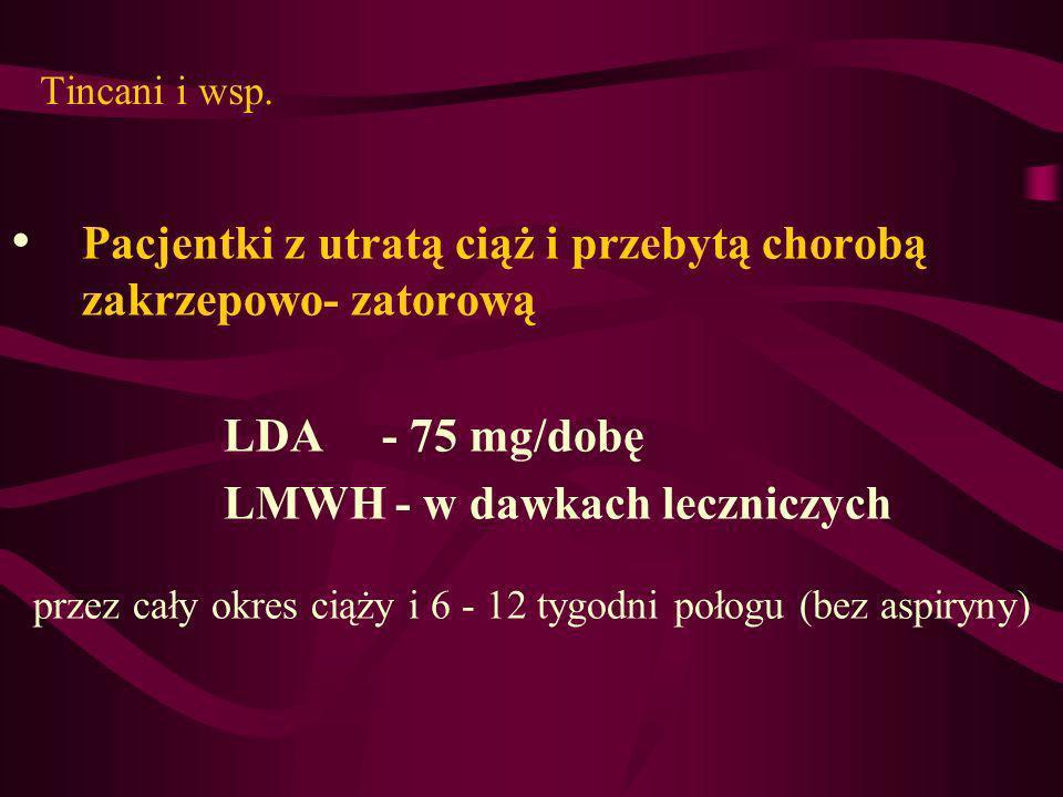 Tincani i wsp. Pacjentki z utratą ciąż i przebytą chorobą zakrzepowo- zatorową LDA - 75 mg/dobę LMWH - w dawkach leczniczych przez cały okres ciąży i