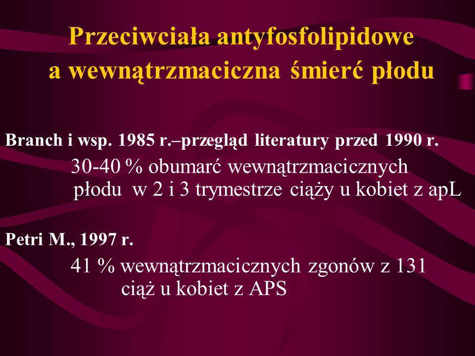 Przeciwciała antyfosfolipidowe a wewnątrzmaciczna śmierć płodu Branch i wsp. 1985 r.–przegląd literatury przed 1990 r. 30-40 % obumarć wewnątrzmaciczn