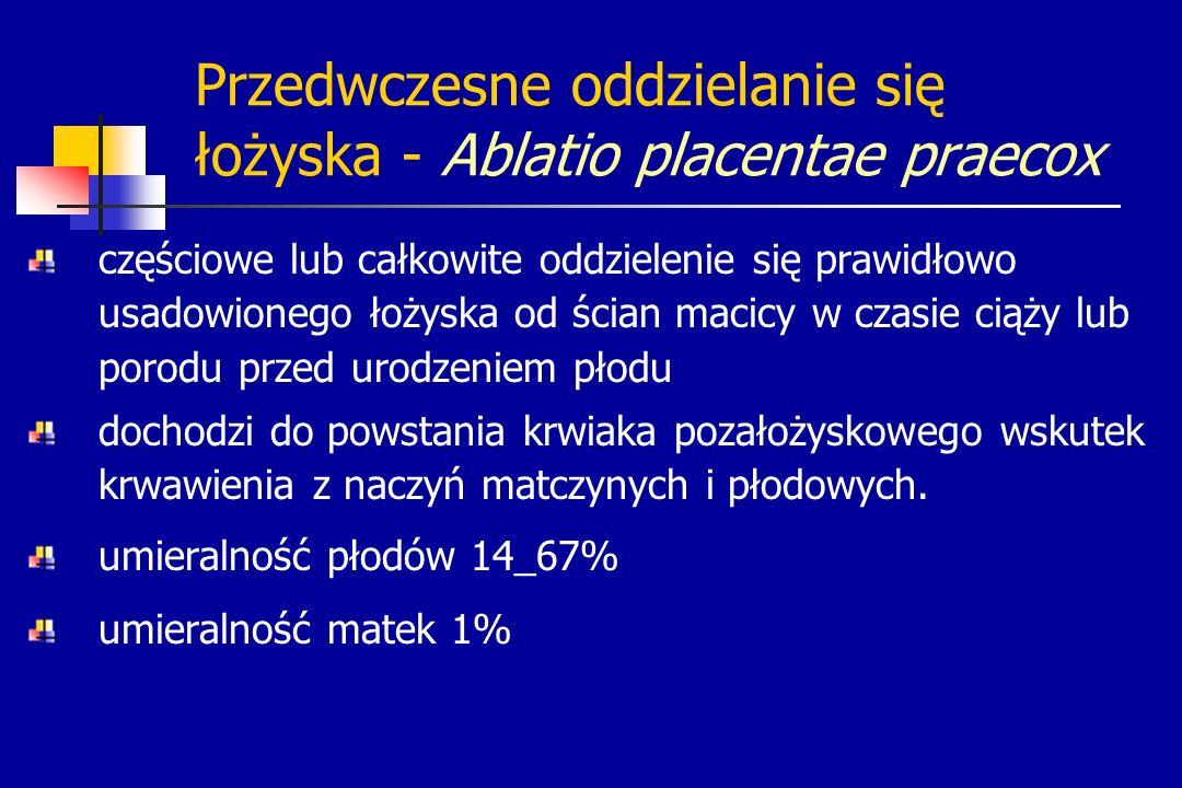 Przedwczesne oddzielanie się łożyska - Ablatio placentae praecox częściowe lub całkowite oddzielenie się prawidłowo usadowionego łożyska od ścian maci