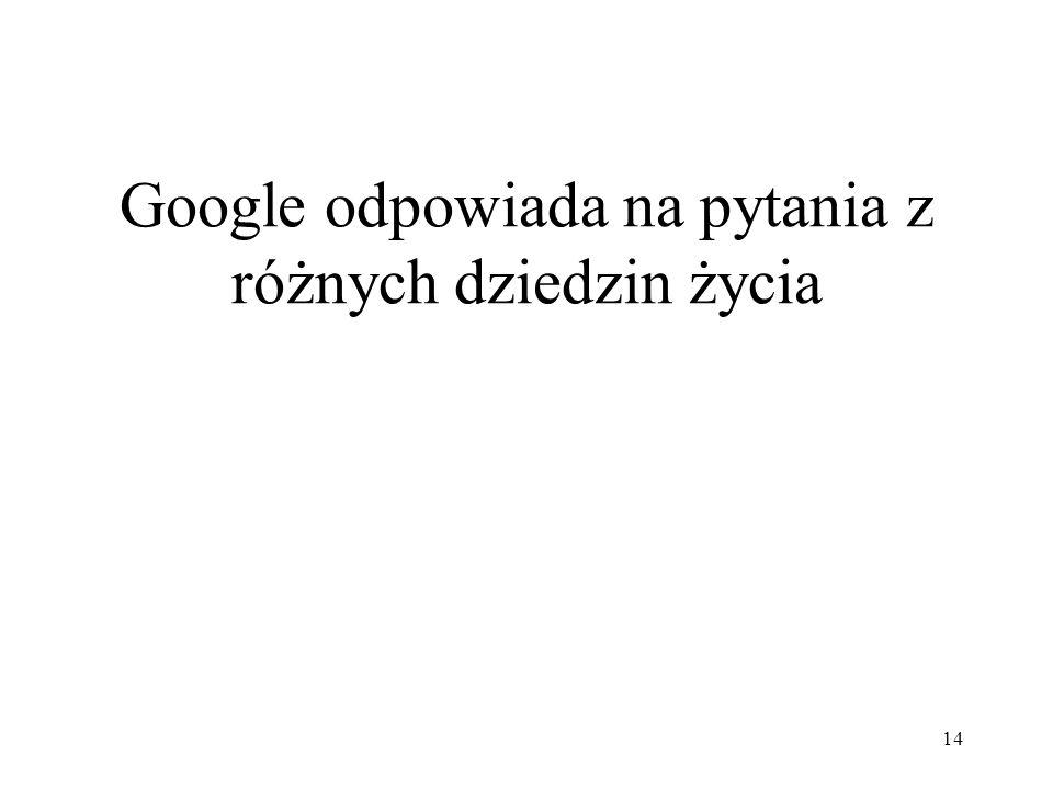 14 Google odpowiada na pytania z różnych dziedzin życia