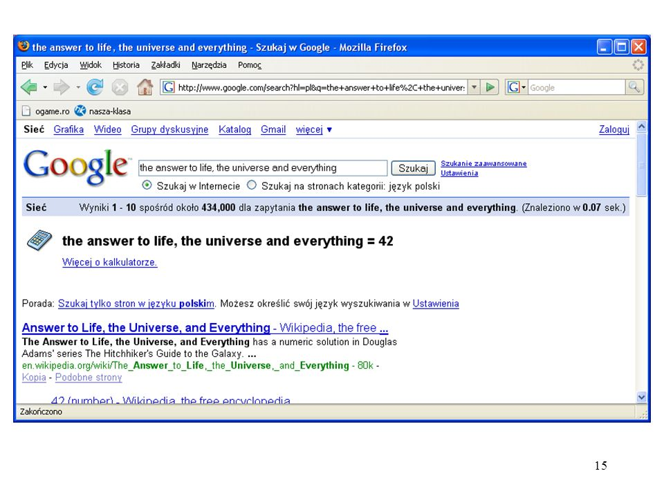 16 Lista stron związanych z Google