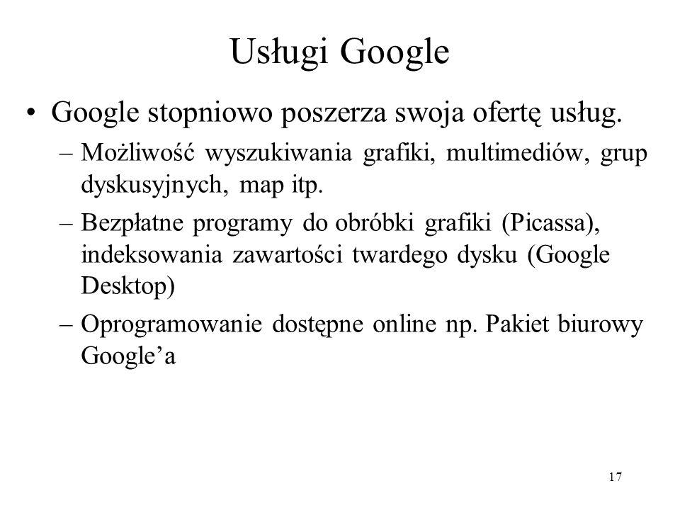 18 Różne usługi Google