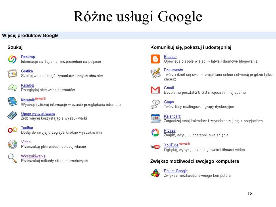 19 Różne wyszukiwarki Google