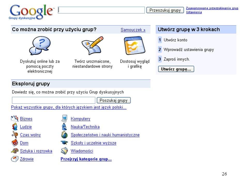 27 Google grafika Wyszukiwarka Grafiki Google umożliwia przeszukiwanie plików graficznych znajdujących się na stronach internetowych.