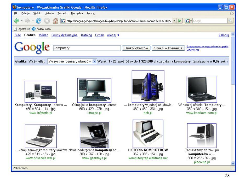 29 Google Wideo Wyszukiwarka filmów Video Google wyszukuje w internecie filmy dodane przez użytkowników YouTube a, Google Video oraz innych dużych serwisów.