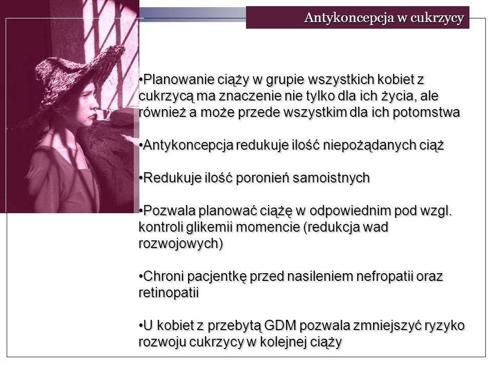 Antykoncepcja w cukrzycy Planowanie ciąży w grupie wszystkich kobiet z cukrzycą ma znaczenie nie tylko dla ich życia, ale również a może przede wszystkim dla ich potomstwaPlanowanie ciąży w grupie wszystkich kobiet z cukrzycą ma znaczenie nie tylko dla ich życia, ale również a może przede wszystkim dla ich potomstwa Antykoncepcja redukuje ilość niepożądanych ciążAntykoncepcja redukuje ilość niepożądanych ciąż Redukuje ilość poronień samoistnychRedukuje ilość poronień samoistnych Pozwala planować ciążę w odpowiednim pod wzgl.