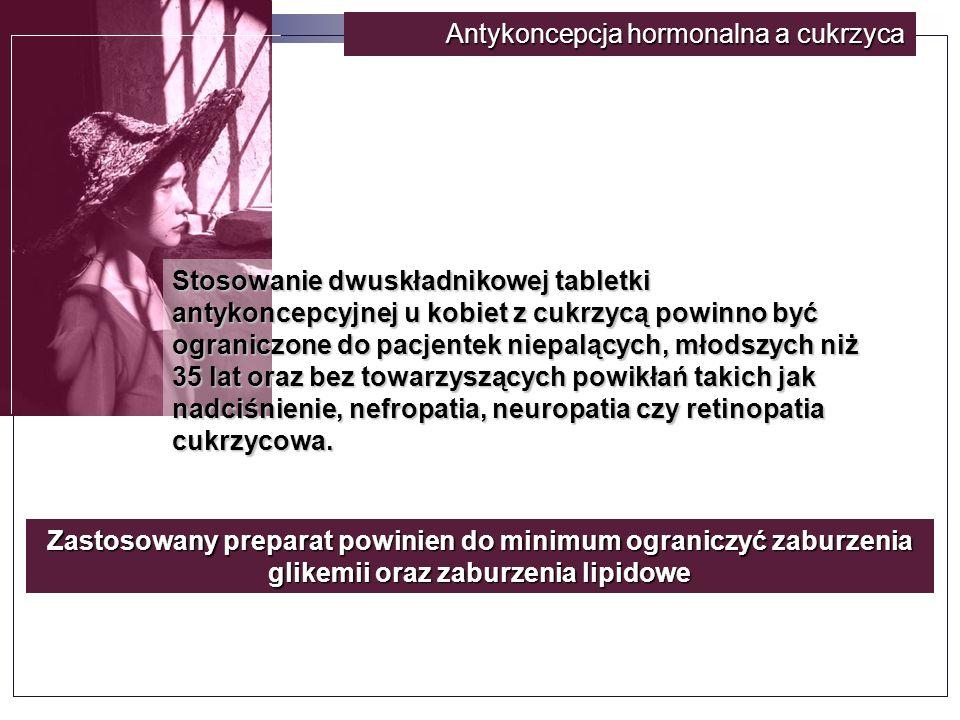 Antykoncepcja hormonalna a cukrzyca Stosowanie dwuskładnikowej tabletki antykoncepcyjnej u kobiet z cukrzycą powinno być ograniczone do pacjentek niepalących, młodszych niż 35 lat oraz bez towarzyszących powikłań takich jak nadciśnienie, nefropatia, neuropatia czy retinopatia cukrzycowa.