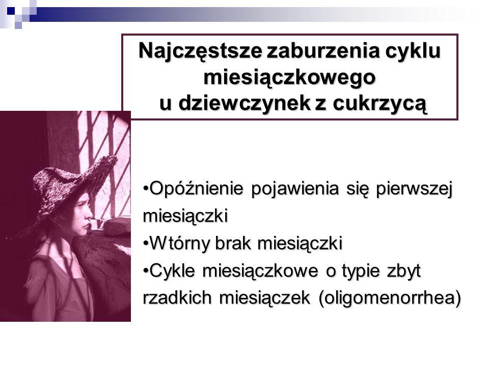 Opóźnienie pojawienia się pierwszej miesiączkiOpóźnienie pojawienia się pierwszej miesiączki Wtórny brak miesiączkiWtórny brak miesiączki Cykle miesiączkowe o typie zbyt rzadkich miesiączek (oligomenorrhea)Cykle miesiączkowe o typie zbyt rzadkich miesiączek (oligomenorrhea) Najczęstsze zaburzenia cyklu miesiączkowego u dziewczynek z cukrzycą u dziewczynek z cukrzycą