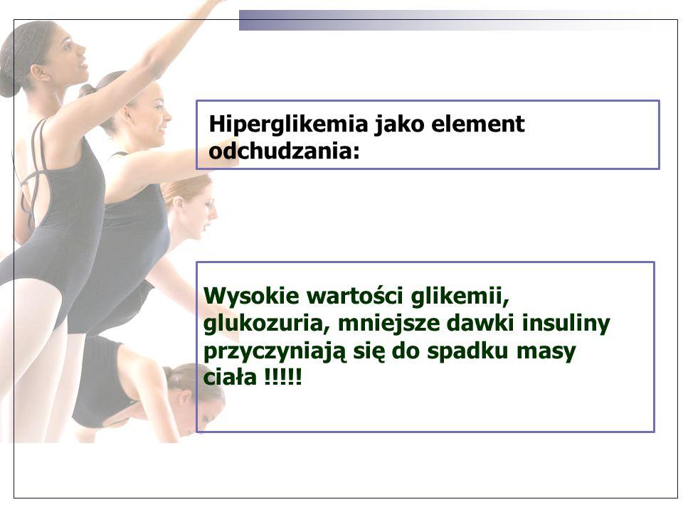 Hiperglikemia jako element odchudzania: Wysokie wartości glikemii, glukozuria, mniejsze dawki insuliny przyczyniają się do spadku masy ciała !!!!!