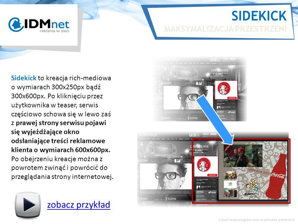 SIDEKICK MAKSYMALIZACJA PRZESTRZENI zobacz przykład wizualizacja przygotowana na potrzeby prezentacji Sidekick to kreacja rich-mediowa o wymiarach 300x250px bądź 300x600px.