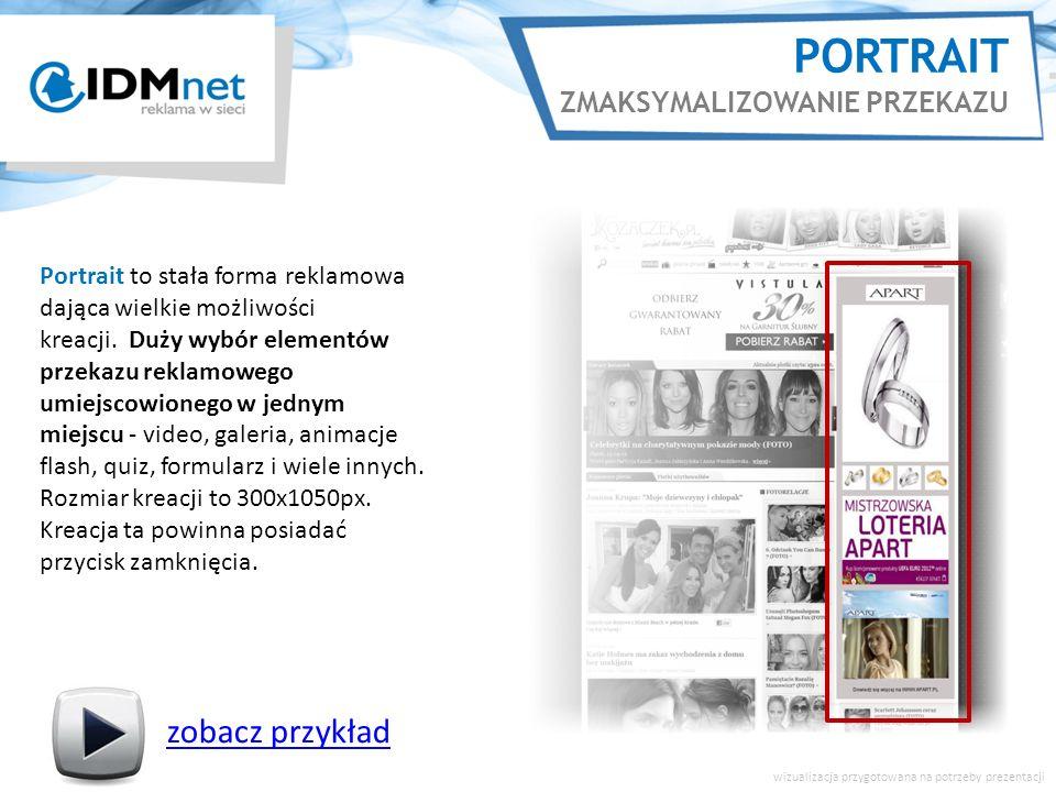 PORTRAIT ZMAKSYMALIZOWANIE PRZEKAZU zobacz przykład wizualizacja przygotowana na potrzeby prezentacji Portrait to stała forma reklamowa dająca wielkie możliwości kreacji.