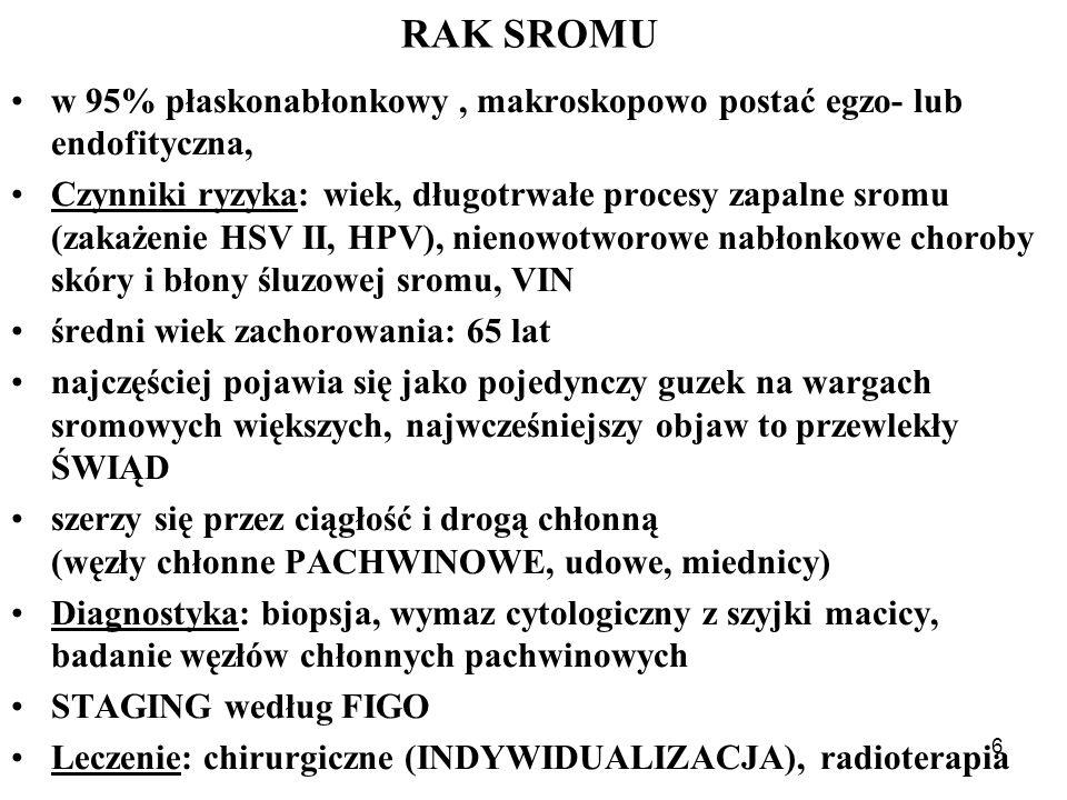 6 RAK SROMU w 95% płaskonabłonkowy, makroskopowo postać egzo- lub endofityczna, Czynniki ryzyka: wiek, długotrwałe procesy zapalne sromu (zakażenie HSV II, HPV), nienowotworowe nabłonkowe choroby skóry i błony śluzowej sromu, VIN średni wiek zachorowania: 65 lat najczęściej pojawia się jako pojedynczy guzek na wargach sromowych większych, najwcześniejszy objaw to przewlekły ŚWIĄD szerzy się przez ciągłość i drogą chłonną (węzły chłonne PACHWINOWE, udowe, miednicy) Diagnostyka: biopsja, wymaz cytologiczny z szyjki macicy, badanie węzłów chłonnych pachwinowych STAGING według FIGO Leczenie: chirurgiczne (INDYWIDUALIZACJA), radioterapia