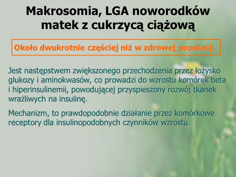 Makrosomia, LGA noworodków matek z cukrzycą ciążową Około dwukrotnie częściej niż w zdrowej populacji Jest następstwem zwiększonego przechodzenia prze
