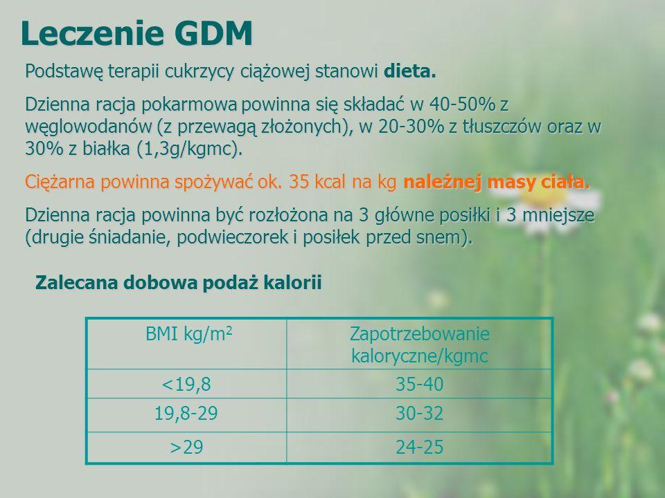 Leczenie GDM Podstawę terapii cukrzycy ciążowej stanowi dieta. Dzienna racja pokarmowa powinna się składać w 40-50% z węglowodanów (z przewagą złożony