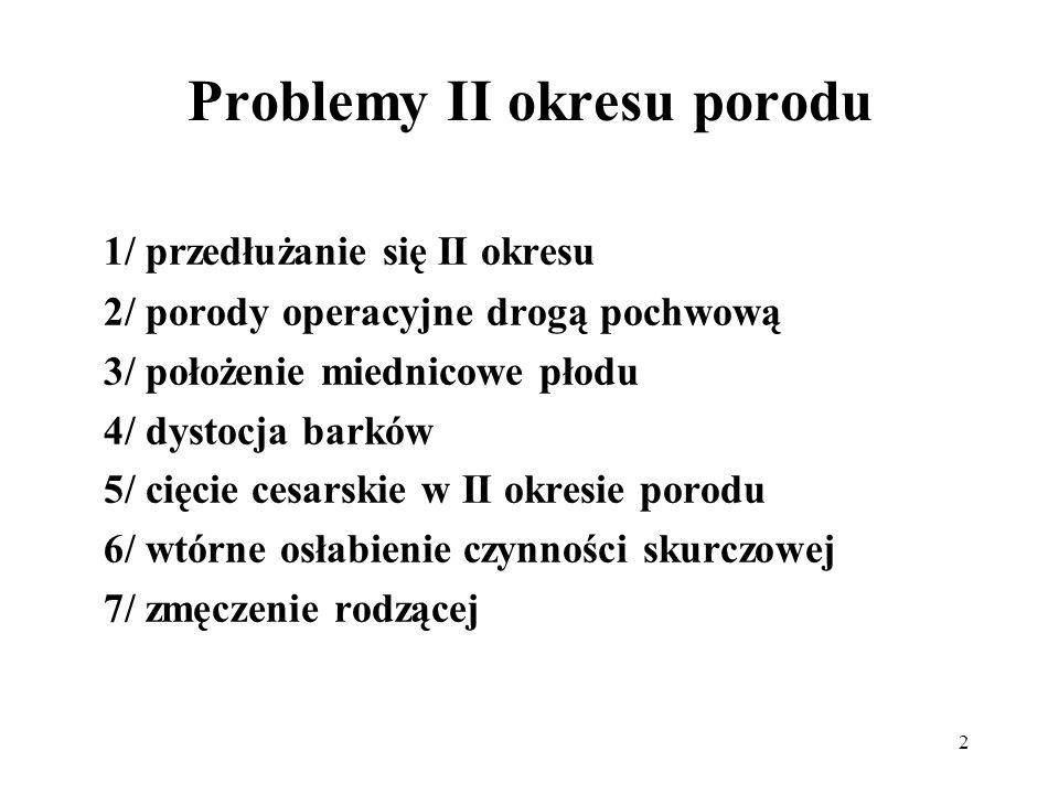 2 Problemy II okresu porodu 1/ przedłużanie się II okresu 2/ porody operacyjne drogą pochwową 3/ położenie miednicowe płodu 4/ dystocja barków 5/ cięc