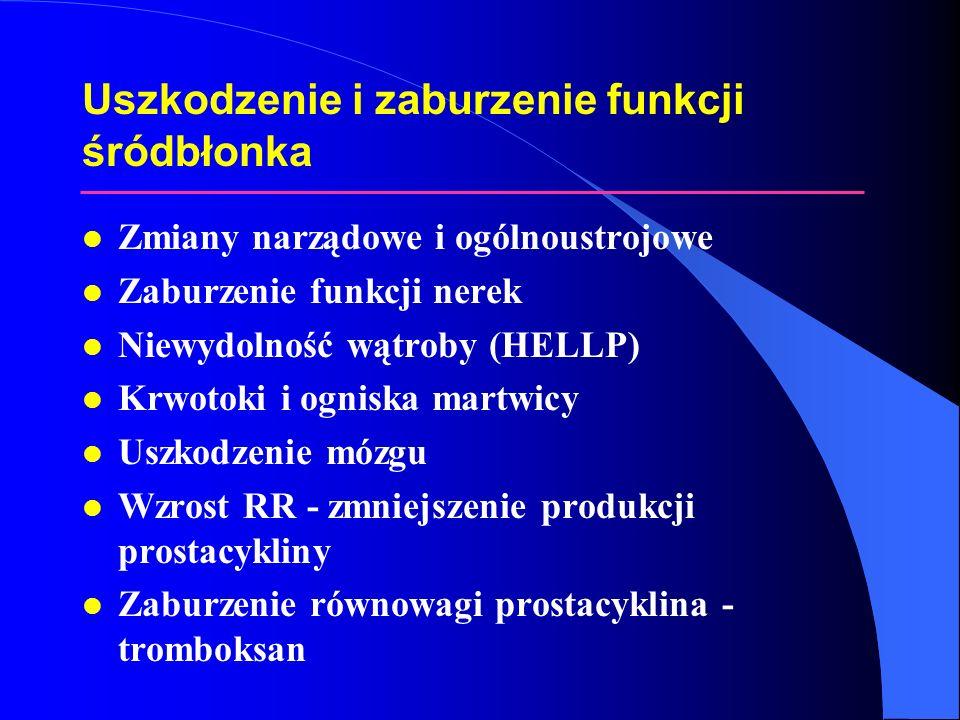 Uszkodzenie i zaburzenie funkcji śródbłonka l Zmiany narządowe i ogólnoustrojowe l Zaburzenie funkcji nerek l Niewydolność wątroby (HELLP) l Krwotoki