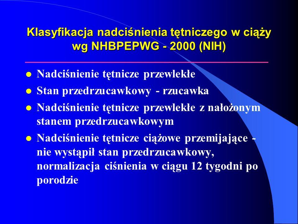 Ciężka postać stanu przedrzucawkowego l Ciśnienie tętnicze krwi: skurczowe >160mmHg rozkurczowe>110mmHg l Białkomocz > 2.0 g/24 godziny l Kreatynina >1.2mg/dl l Płytki<100 000/mm 3 lub objawy mikroangiopatycznej niedokrwistości hemolitycznej l Zwiększona aktywność AspAT i/lub AlAT l Utrzymujący się ból głowy lub inne zaburzenia mózgowe bądź wzrokowe l Utrzymujący się ból w nadbrzuszu