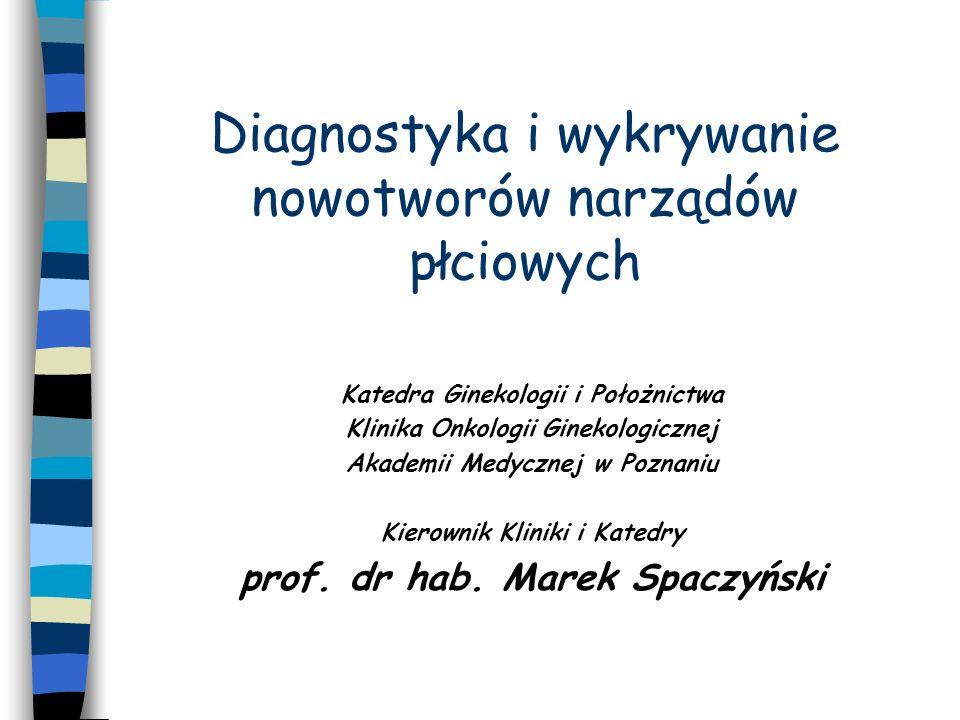 METODY DIAGNOSTYCZNE W ONKOLOGII GINEKOLOGICZNEJ BADANIE GINEKOLOGICZNE 1.Oglądanie 2.Wziernikowanie pochwy 3.Badanie dwuręczne 4.Badanie per rectum
