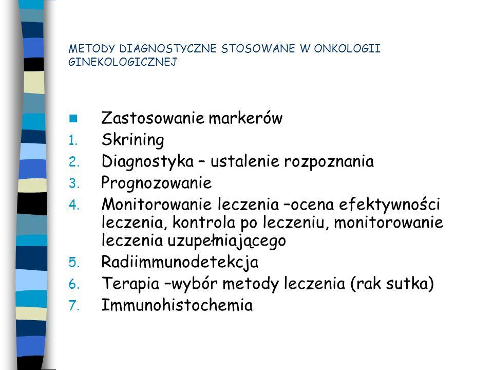 W onkologii ginekologicznej wykorzystywane są: Alfa-fetoproteina –Ca embrionale.