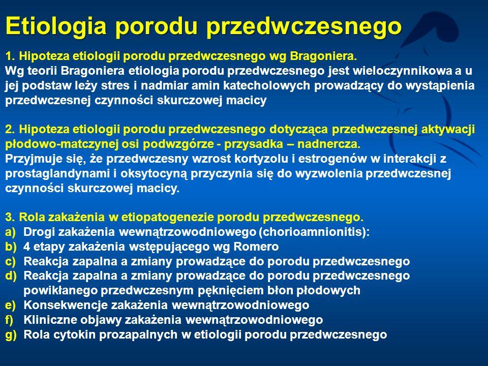 1. Hipoteza etiologii porodu przedwczesnego wg Bragoniera. Wg teorii Bragoniera etiologia porodu przedwczesnego jest wieloczynnikowa a u jej podstaw l