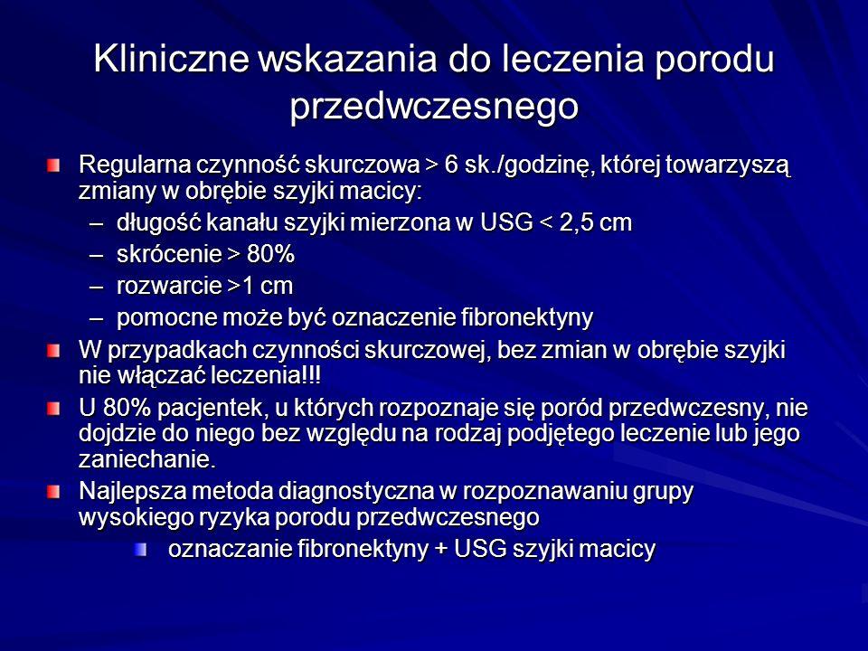 Leczenie porodu przedwczesnego Niefarmakologiczne –oszczędzający tryb życia, leżenie –nawodnienie –wstrzemięźliwość seksualna Farmakologiczne –tokolityki beta-mimetyki siarczan magnezu blokery kanału wapniowego inhibitory syntezy prostaglandyn antagoniści oksytocyny donory tlenku azotu –progesteron –leczenie uzupełniające – anksjolityki, spazmolityki –antybiotyki –glikokortykosteroidy