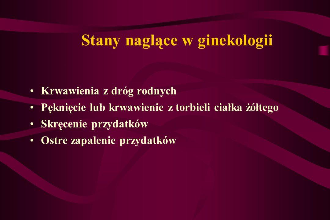 Stany naglące w ginekologii Krwawienia z dróg rodnych Pęknięcie lub krwawienie z torbieli ciałka żółtego Skręcenie przydatków Ostre zapalenie przydatk