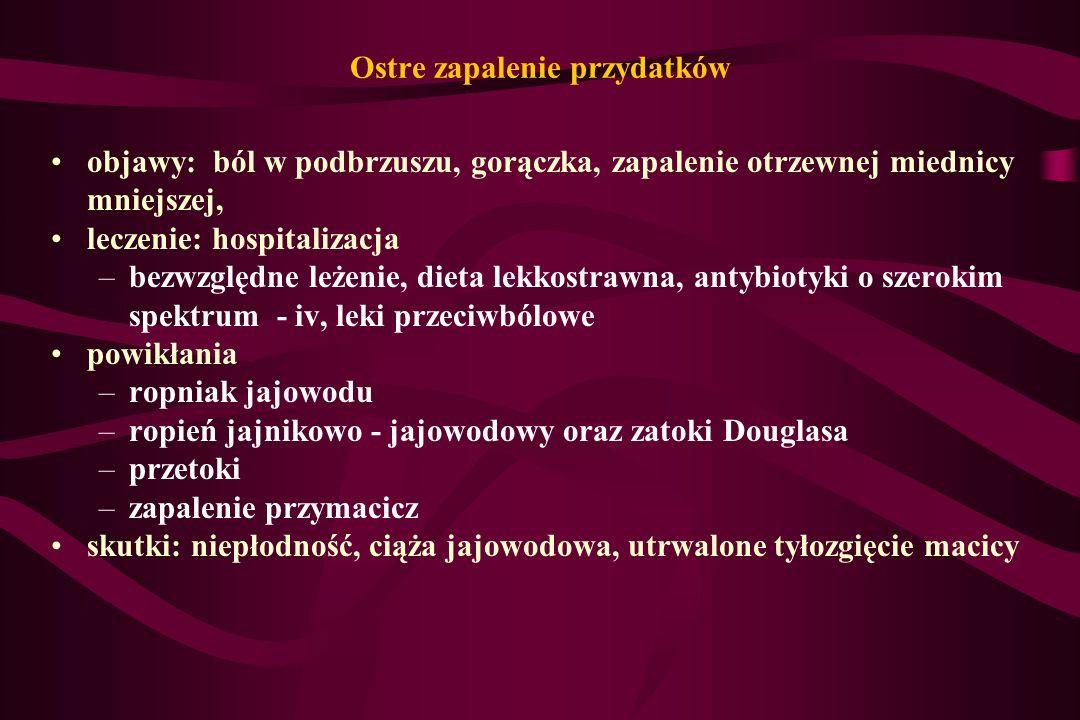 objawy: ból w podbrzuszu, gorączka, zapalenie otrzewnej miednicy mniejszej, leczenie: hospitalizacja –bezwzględne leżenie, dieta lekkostrawna, antybio