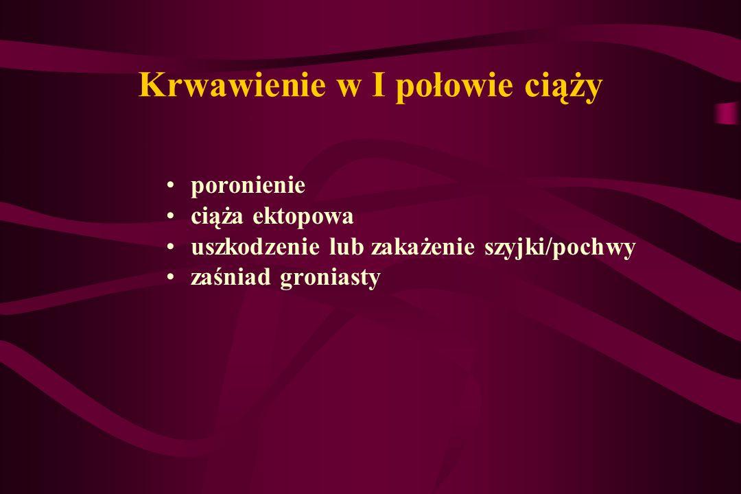 Poronienie samoistne Objawy – krwawienie, bóle podbrzusza We wczesnej ciąży (do 8 tyg.) – charakter jednofazowy – poronienie zupełne W okresie późniejszym- poronienie niezupełne (najpierw wydalenie płodu, później kosmówki)-konieczne skrobanie ścian jamy macicy częstość występowania w Polsce - ok.