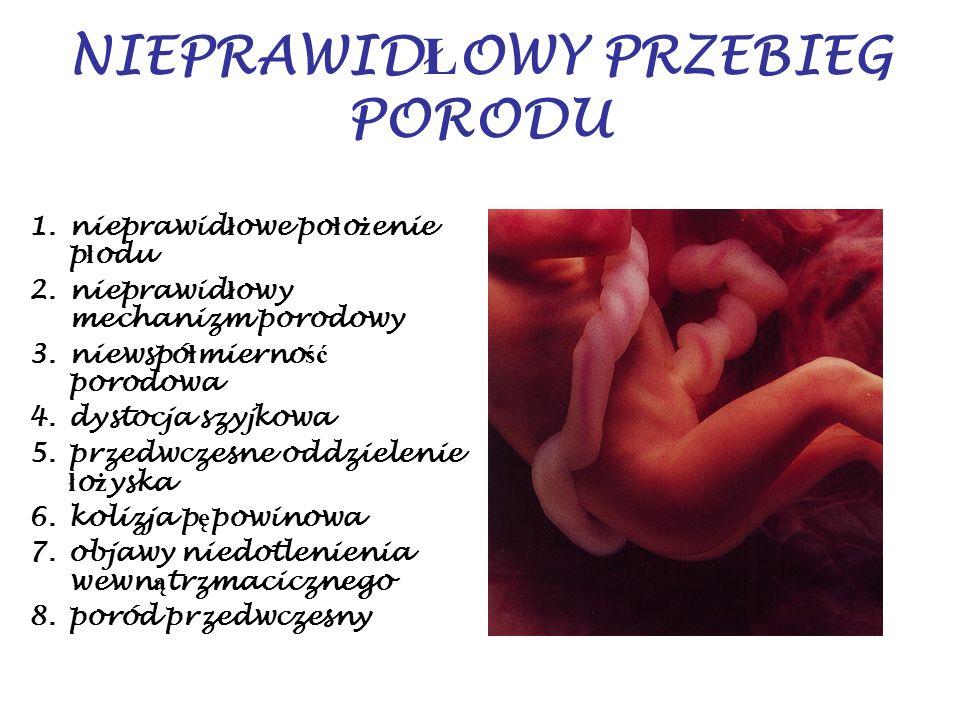 NIEPRAWID Ł OWY PRZEBIEG PORODU 1.nieprawid ł owe po ł o ż enie p ł odu 2.nieprawid ł owy mechanizm porodowy 3.niewspó ł mierno ść porodowa 4.dystocja