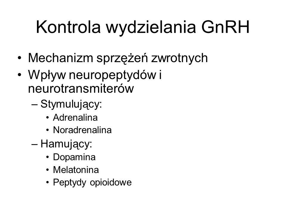 Kontrola wydzielania GnRH Mechanizm sprzężeń zwrotnych Wpływ neuropeptydów i neurotransmiterów –Stymulujący: Adrenalina Noradrenalina –Hamujący: Dopamina Melatonina Peptydy opioidowe