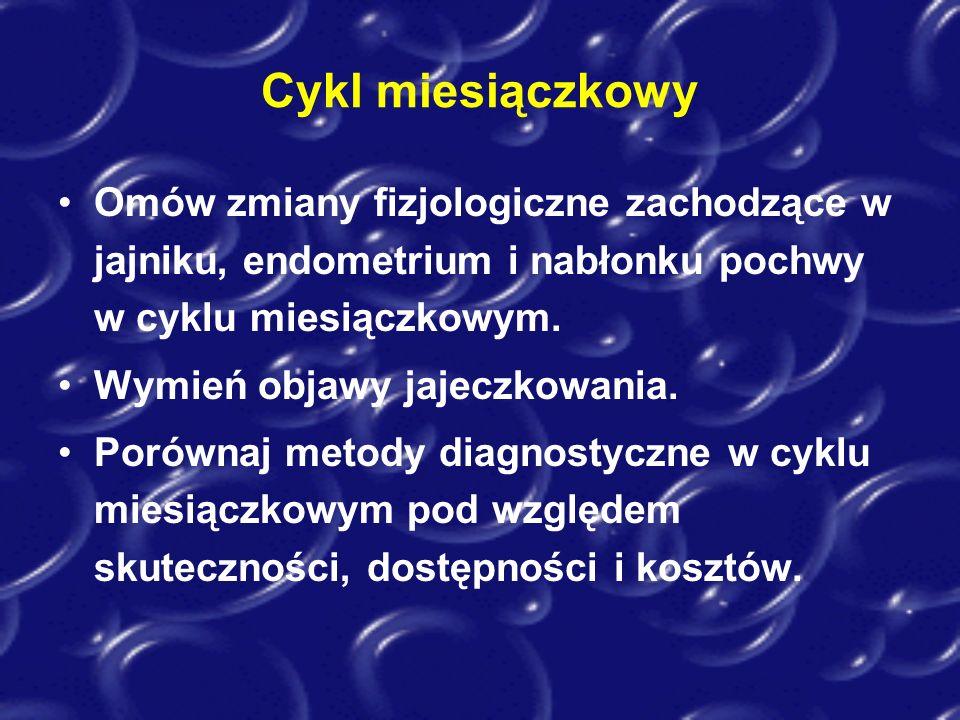 Cykl miesiączkowy Omów zmiany fizjologiczne zachodzące w jajniku, endometrium i nabłonku pochwy w cyklu miesiączkowym. Wymień objawy jajeczkowania. Po