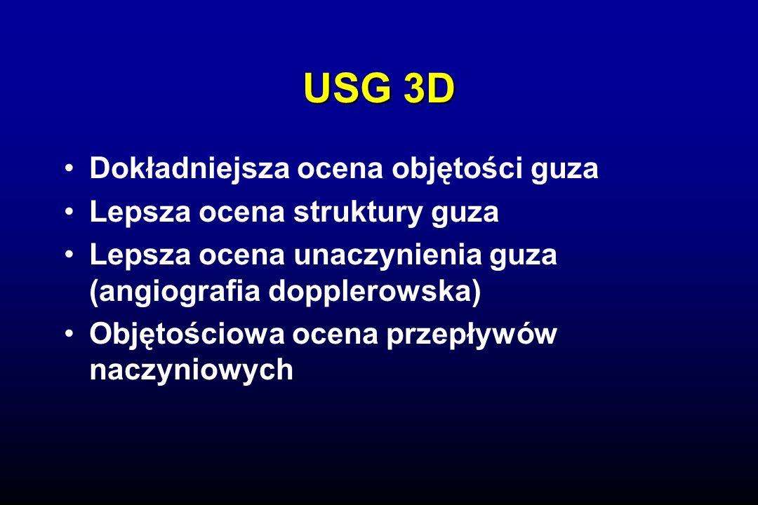 USG 3D Dokładniejsza ocena objętości guza Lepsza ocena struktury guza Lepsza ocena unaczynienia guza (angiografia dopplerowska) Objętościowa ocena przepływów naczyniowych