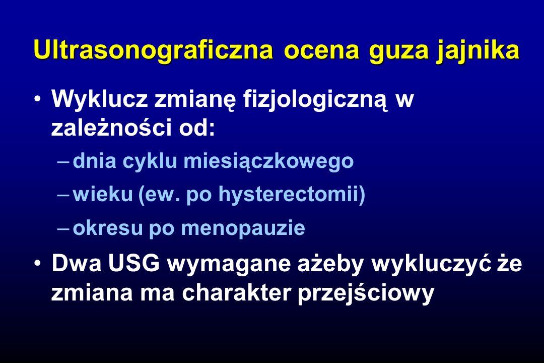 Badanie ginekologiczne Ultrasonografia (TVS ± Doppler) CA 125 Inne markery (OVX1, M-CSF) Skrining wieloskładnikowy (multimodal) (CA 125 z następowym TVS) Skrining raka jajnika