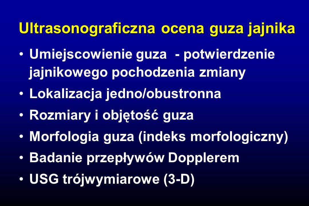 Ultrasonograficzna ocena guza jajnika Umiejscowienie guza - potwierdzenie jajnikowego pochodzenia zmiany Lokalizacja jedno/obustronna Rozmiary i objętość guza Morfologia guza (indeks morfologiczny) Badanie przepływów Dopplerem USG trójwymiarowe (3-D)