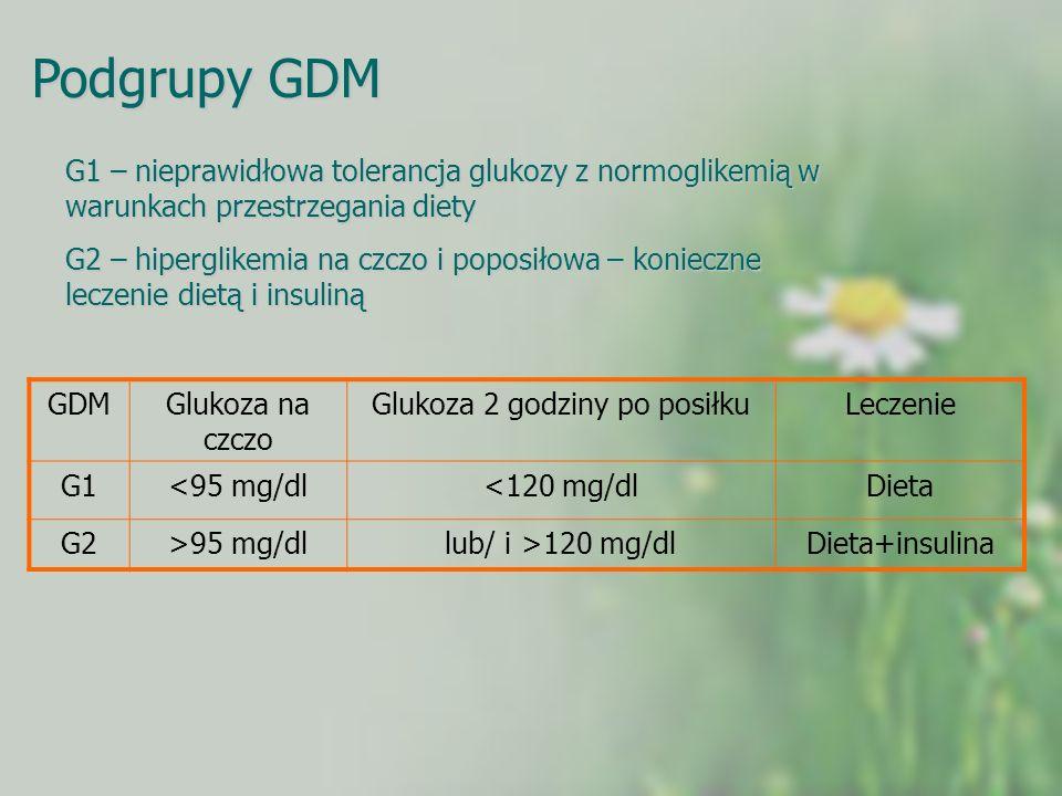 Podgrupy GDM G1 – nieprawidłowa tolerancja glukozy z normoglikemią w warunkach przestrzegania diety G2 – hiperglikemia na czczo i poposiłowa – koniecz