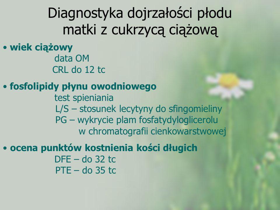 Diagnostyka dojrzałości płodu matki z cukrzycą ciążową wiek ciążowy data OM CRL do 12 tc fosfolipidy płynu owodniowego test spieniania L/S – stosunek