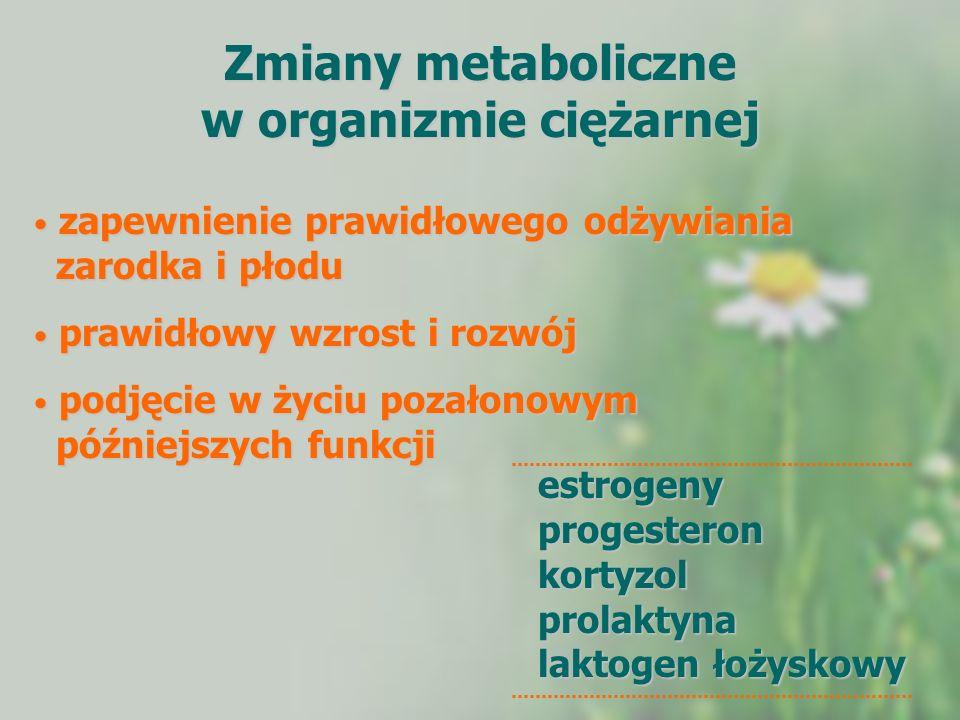 Zmiany metaboliczne w organizmie ciężarnej zapewnienie prawidłowego odżywiania zarodka i płodu zapewnienie prawidłowego odżywiania zarodka i płodu pra