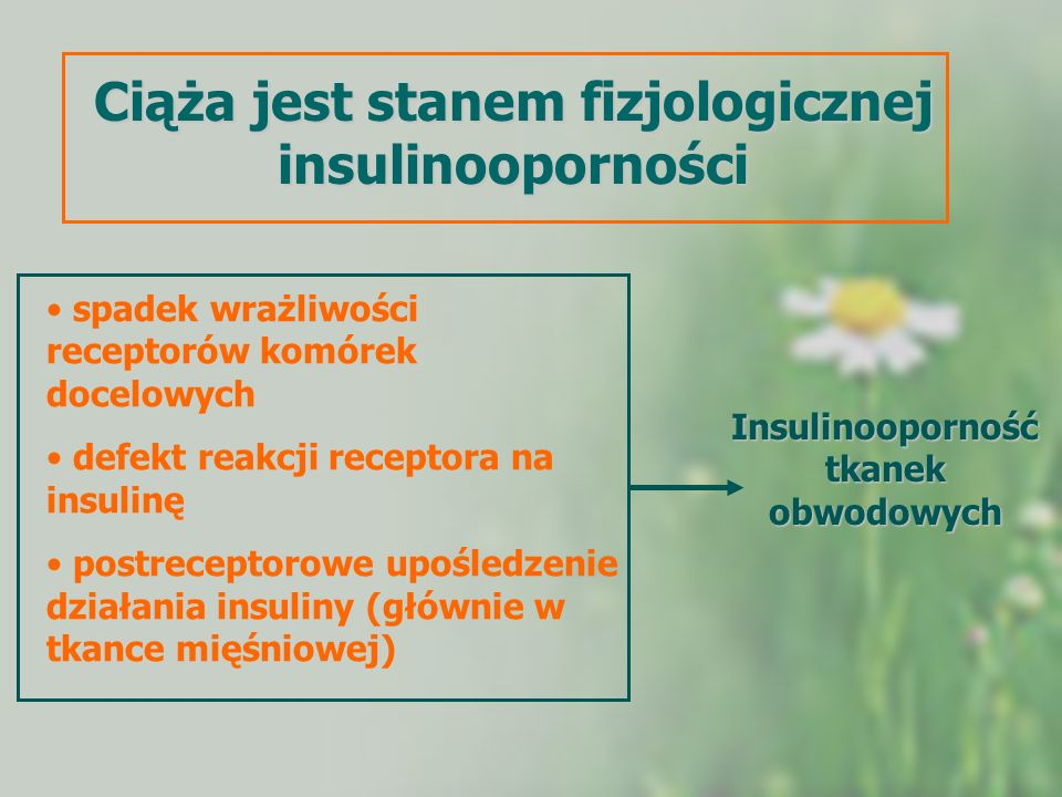 Ciąża jest stanem fizjologicznej insulinooporności spadek wrażliwości receptorów komórek docelowych defekt reakcji receptora na insulinę postreceptoro