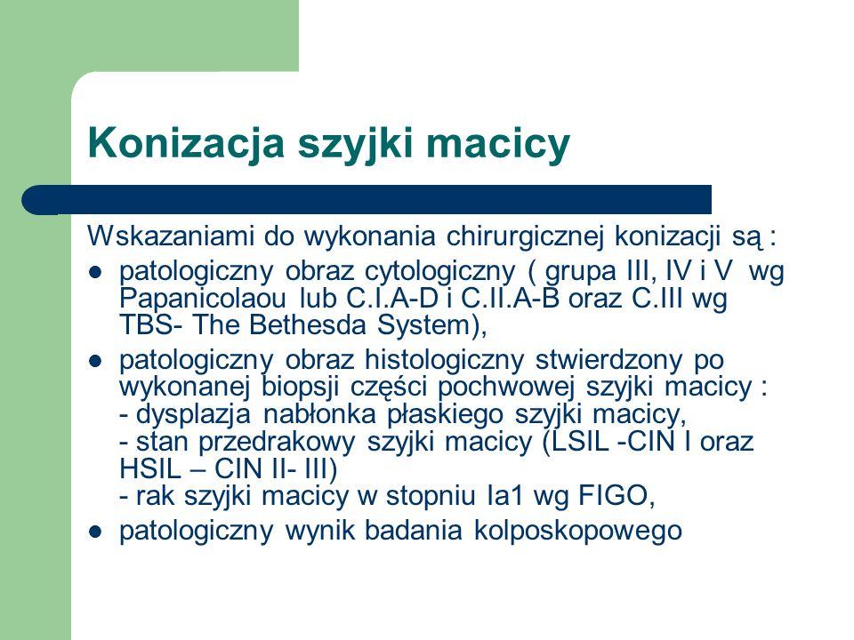 Konizacja szyjki macicy Wskazaniami do wykonania chirurgicznej konizacji są : patologiczny obraz cytologiczny ( grupa III, IV i V wg Papanicolaou lub