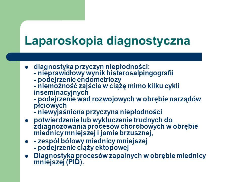 Laparoskopia diagnostyczna diagnostyka przyczyn niepłodności: - nieprawidłowy wynik histerosalpingografii - podejrzenie endometriozy - niemożność zajś