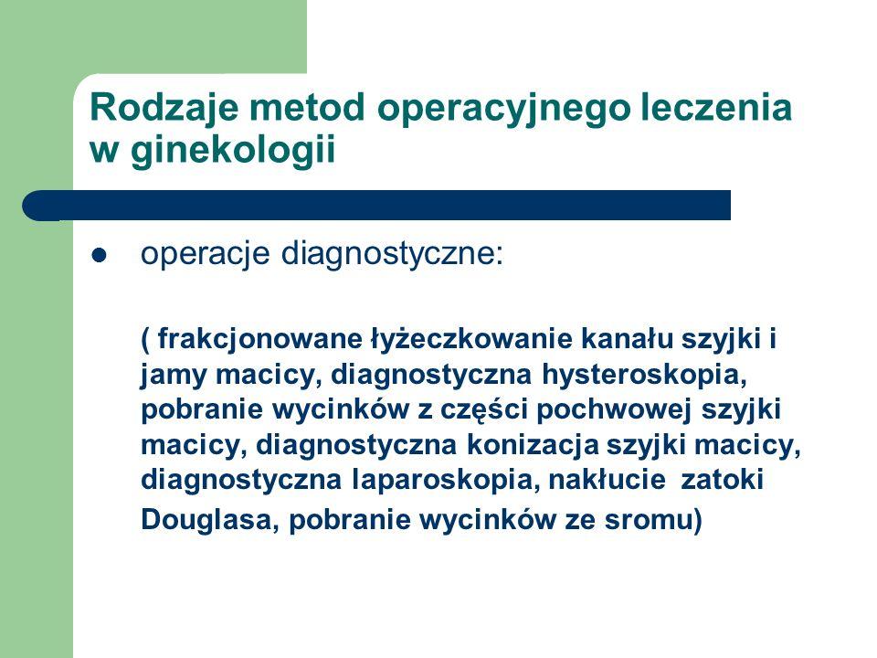 Rodzaje metod operacyjnego leczenia w ginekologii operacje diagnostyczne: ( frakcjonowane łyżeczkowanie kanału szyjki i jamy macicy, diagnostyczna hys