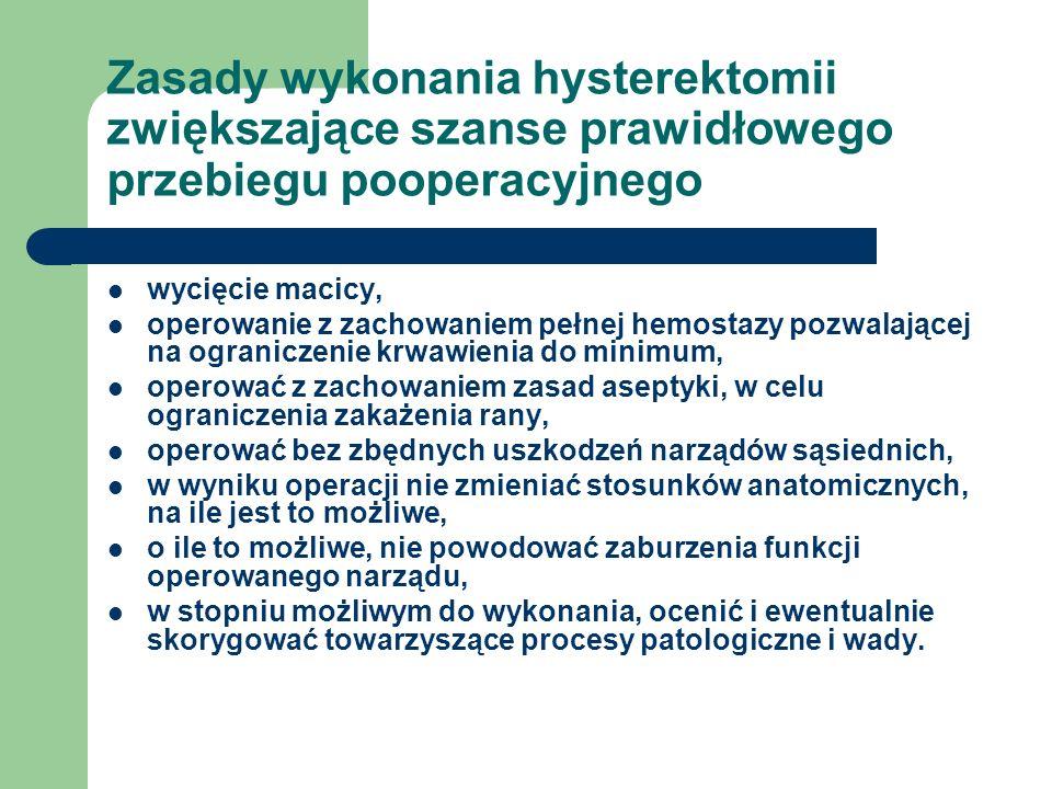 Zasady wykonania hysterektomii zwiększające szanse prawidłowego przebiegu pooperacyjnego wycięcie macicy, operowanie z zachowaniem pełnej hemostazy po