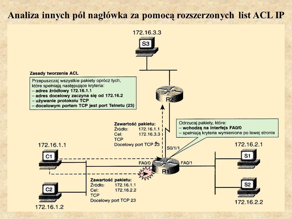 PSK Laboratorium 910 Analiza innych pól nagłówka za pomocą rozszerzonych list ACL IP