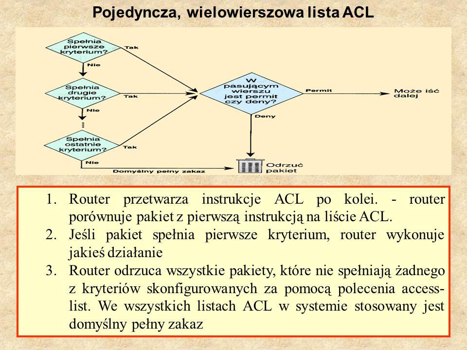PSK Laboratorium 913 Pojedyncza, wielowierszowa lista ACL 1.Router przetwarza instrukcje ACL po kolei. - router porównuje pakiet z pierwszą instrukcją