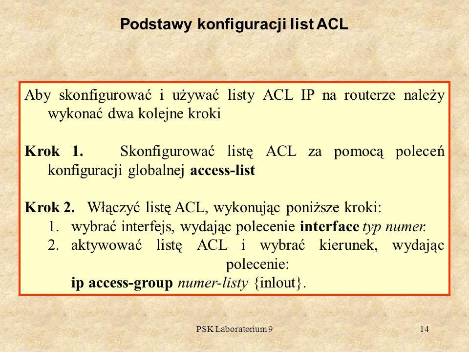 PSK Laboratorium 914 Podstawy konfiguracji list ACL Aby skonfigurować i używać listy ACL IP na routerze należy wykonać dwa kolejne kroki Krok 1. Skonf